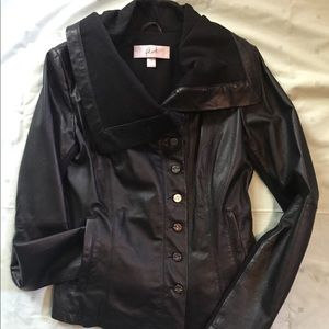 Danier leather blazer with over-sized collar